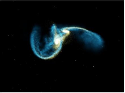 fermo immagine dalla simulazione di due galassie spirali in collisione (da Hernquist & Mihos 1996 )