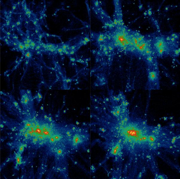 formazione di un ammasso di galassie simulato, da 5 miliardi di anni dopo il Big Bang (in alto a sinistra) fino al tempo attuale. Credits: Vazza et al. 2010.