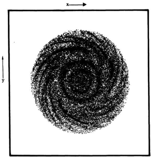 Una delle primissime simulazioni mai realizzate di un disco galattico in rotazione