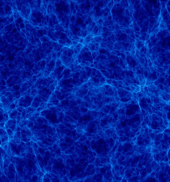 """Visione d'insieme della simulazione """"Mare Nostrum"""" (Gottloeber et al.2006): attualmente forse la simulazione con più """"particelle"""" di materia oscura (2 miliardi) finora realizzata."""