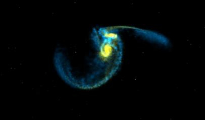 """Sequenza di """"fotogrammi"""" virutali della collisione di due galassie di massa simile alla Via Lattea (credits: Summer, Mihos & Hernquist). Filmati completi ed ulteriori immagini della collisione sono disponibili al sito: http://terpsichore.stsci.edu/~summ ers/viz/mhs/"""