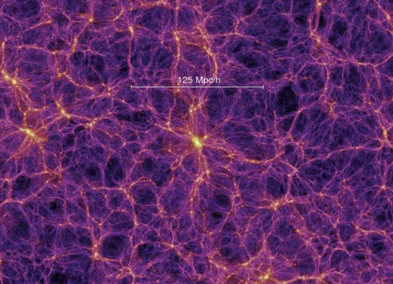 """Particolare di una regione della simulazione """"Millennium"""" (credits: Springel et al.2005). Nell'immagine, la 125Mpc=408 milioni di anni luce. I colori mostrano la distribuzione della materia oscura che forma le galassie, gli ammassi di galassie ed i filamenti."""