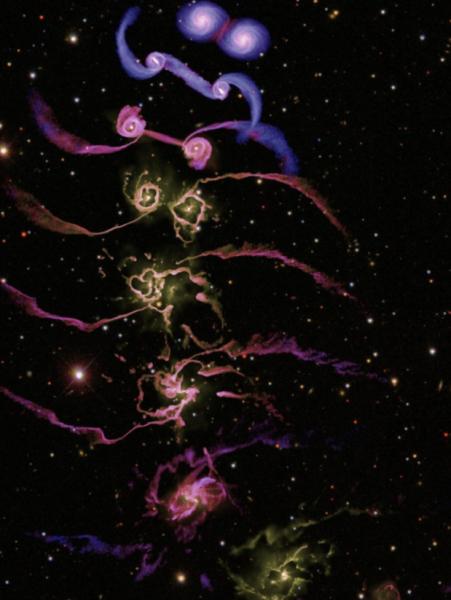 """Evoluzione temporale della collisione tra due galassie a spirale, ciascuna delle quali contenente un buco nero supermassiccio (Di Matteo et al.2005). Dopo la collisione, i due buchi neri coalescono, ed il brusco rilascio di energia (di tipo quasar) """"spazza"""" il gas dalle regioni nucleari circostanti, impedendo la formazione di nuove stelle."""