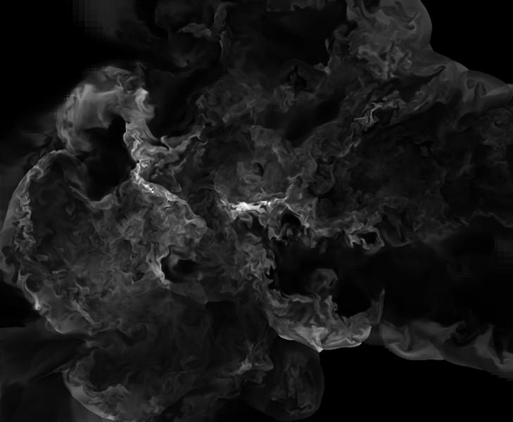 """la vita turbolenta del plasma di un ammasso in violenta collisione, nelle nuove simulazioni ad altissima risoluzione realizzate presso il CINECA (Vazza et al.2010; http://www.ira.inaf.it/~vazza/key_p.html). I colori mostrano la distribuzione del plasma """"freddo"""" (10^8 K, in bianco) per una regione di 8 milioni di anni luce di lato, centrata nel centro dell'ammasso. L'immensa gamma di moti caotici prodotta dalla simulazione, deve essere ancora confermata dalle osservazioni ai telescopi X. Il calcolo ha impiegato in totale 800 mila ore, usando 512 processori."""